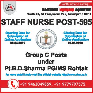 Staff Nurse Recruitment under Pt B D Sharma PGIMS Rohtak | Staff